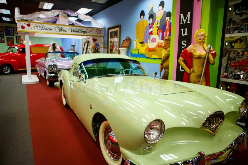 Miami Auto Museum exhibits a collection of vintage and cinema automobiles, bicycles and motorcycles. MIAMI, FLORIDA, USA - APRIL 11: Miami Auto Museum exhibits a stock image