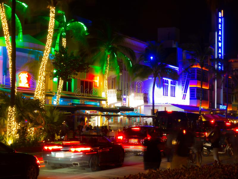Miami, Florida, USA. August 2019. Ocean Drive neon at night on a saturday night. Long exposure stock photography