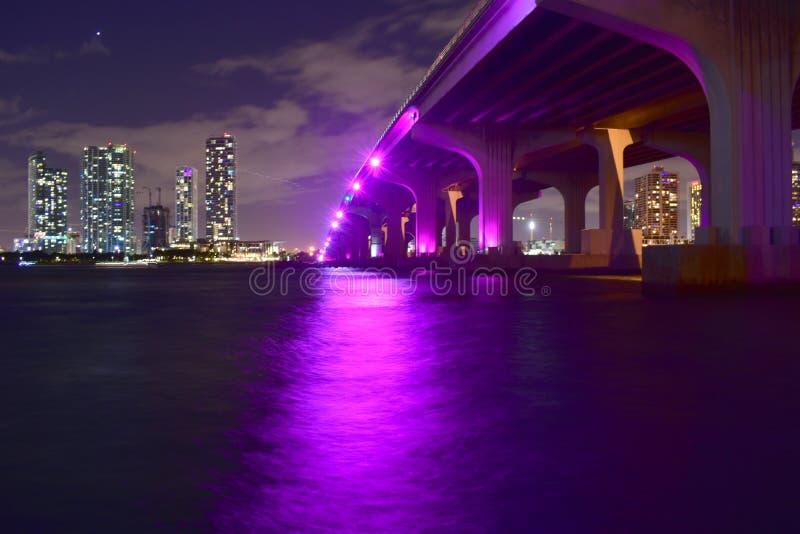 Miami, Florida - USA - January 08, 2016: MacArthur Causeway Bridge stock images
