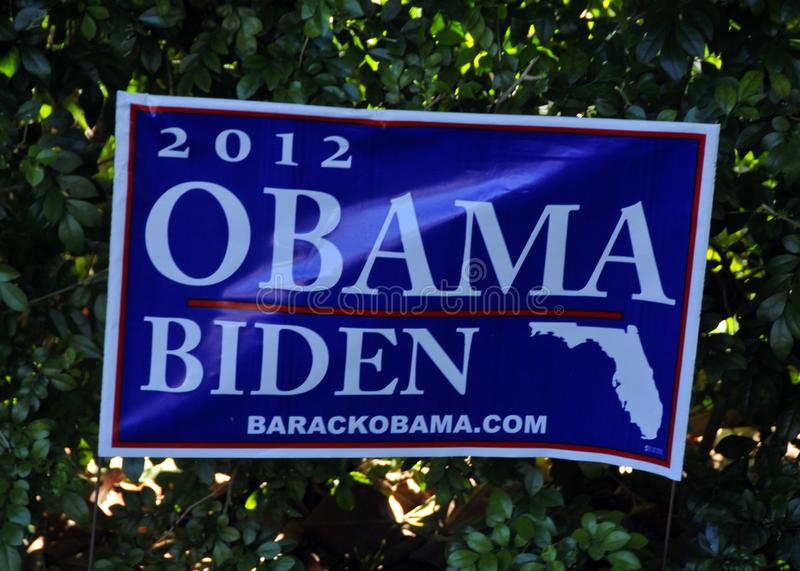 Obama-Biden placard for 2012 United States election. MIAMI FLORIDA - USA - OCTOBER 29 2012: Obama-Biden placard for 2012 United States election. Democratic stock photo