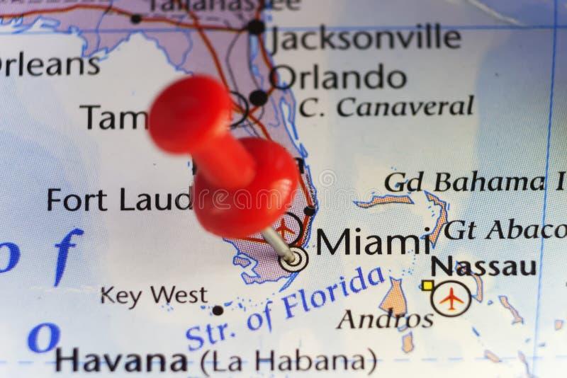 Miami, Florida, USA, pinned map royalty free stock photos