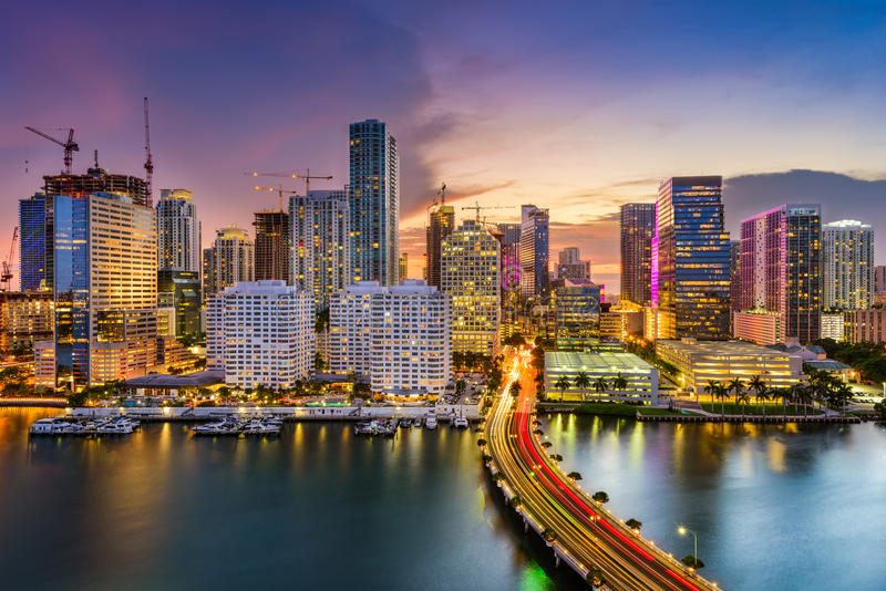 Miami, Floryda, linia horyzontu zdjęcia royalty free