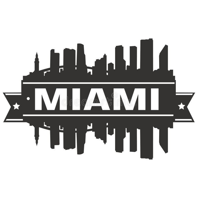 Miami Floryda Stany Zjednoczone Ameryka usa ikony sztuki projekta linii horyzontu miasta Wektorowej Płaskiej sylwetki Editable sz ilustracja wektor