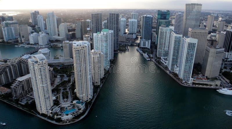 Miami från himmel arkivfoto