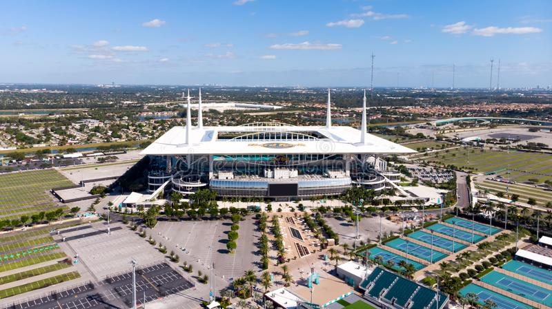 Aerial View Drone Photography Of Hard Rock Stadium Of The Miami Dolphins Aerial View On Hard Rock Stadium Super Bowl Liv Stadiu Editorial Image Image Of City Aerial 165328545