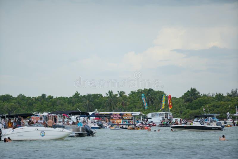 Miami Haulover sandbar floating restaurant. Florida USA stock photo
