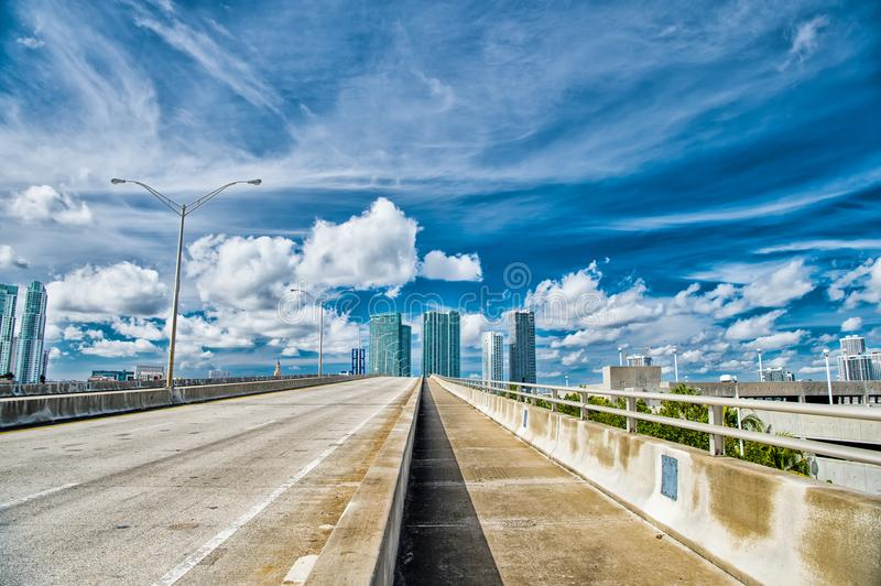 Miami highway or public road roadway for transport vehicles royalty free stock photo