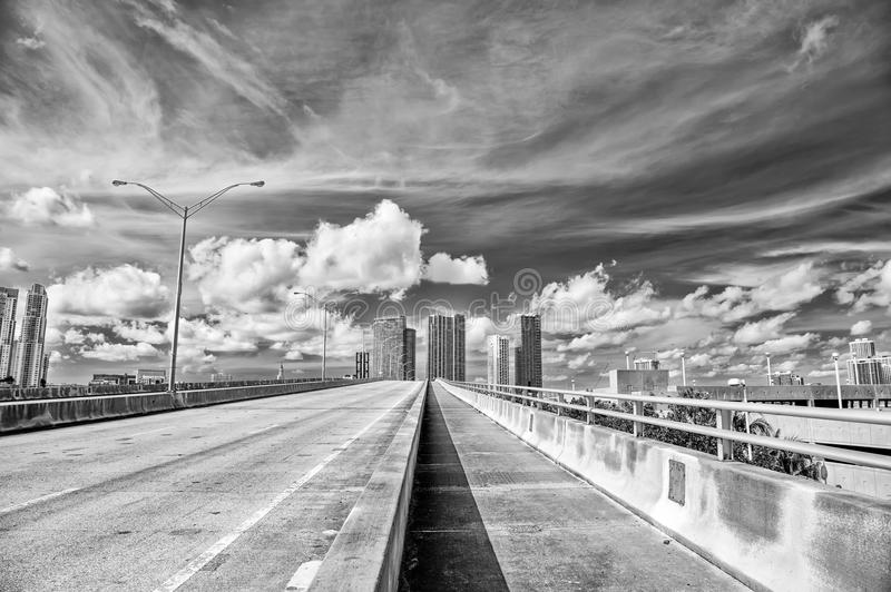 Miami highway or public road roadway for transport vehicles stock photography