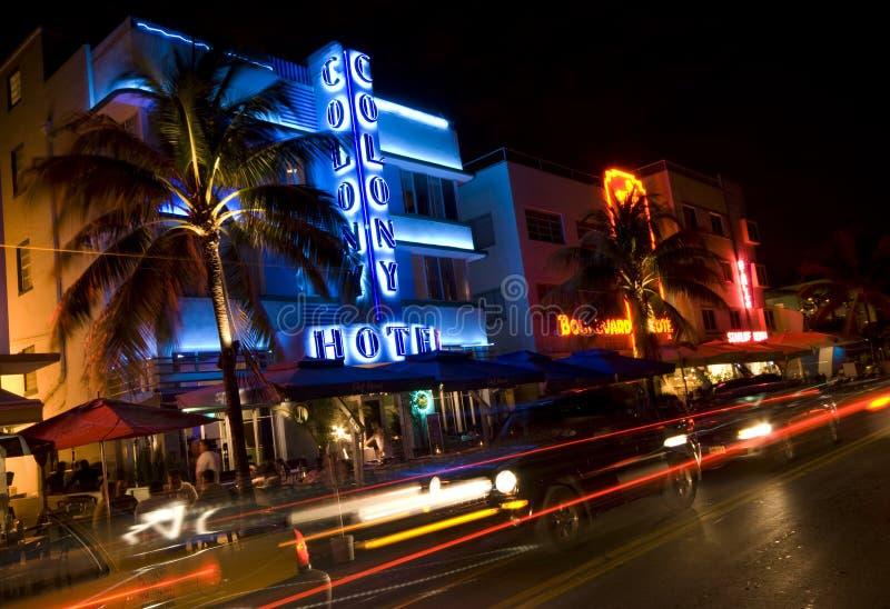 miami hotel night scene ocean drive stock image