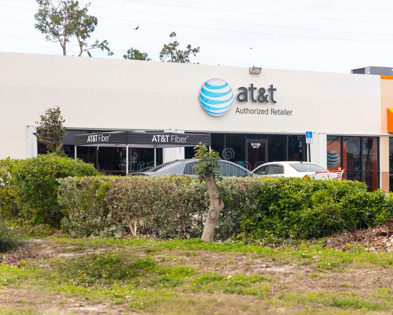 An AT&T Mobility sign in Jacksonville. AT&T Mobility is the second largest wireless telecommunications provider in the United Stat. MIAMI - January 13, 2018: An stock photo