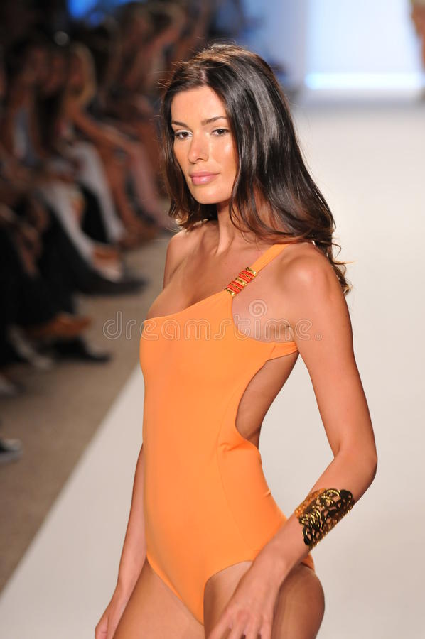 MIAMI - JULY 16: Model Walking Runway At The Caffe Swimwear Collection For Spring/ Summer 2012 Editorial Photo