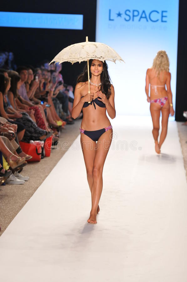Download MIAMI - JULY 14: Model Walks Runway At The L Space Swimsuit Collection For Spring/ Summer 2012 Editorial Photography - Image: 29926767