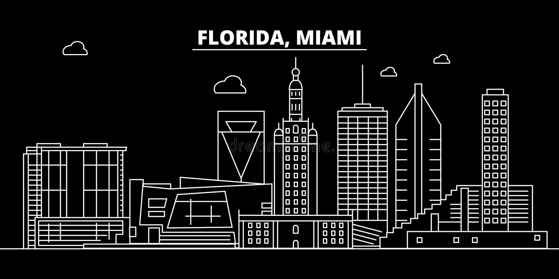 Miami konturhorisont USA - Miami vektorstad, amerikansk linjär arkitektur, byggnader Miami loppillustration royaltyfri illustrationer