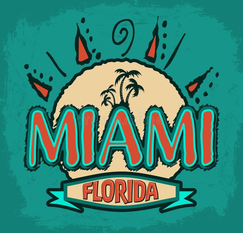 Miami la Florida - insignia del vector - emblema - icono tropical del verano ilustración del vector