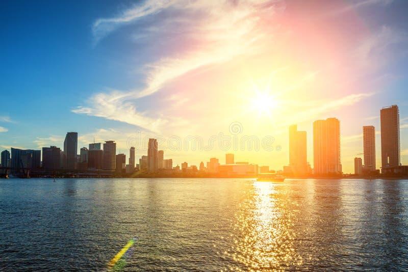 Miami la Floride, coucher du soleil photos libres de droits