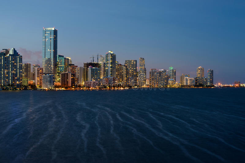 Miami linii horyzontu zmierzch fotografia stock