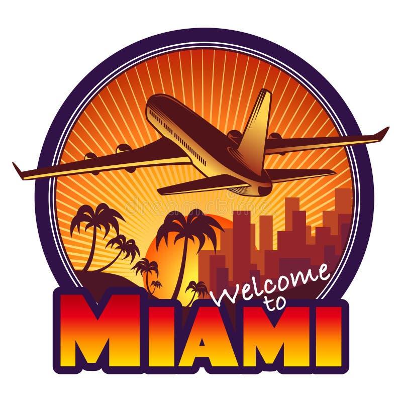 Miami loppetikett royaltyfri illustrationer