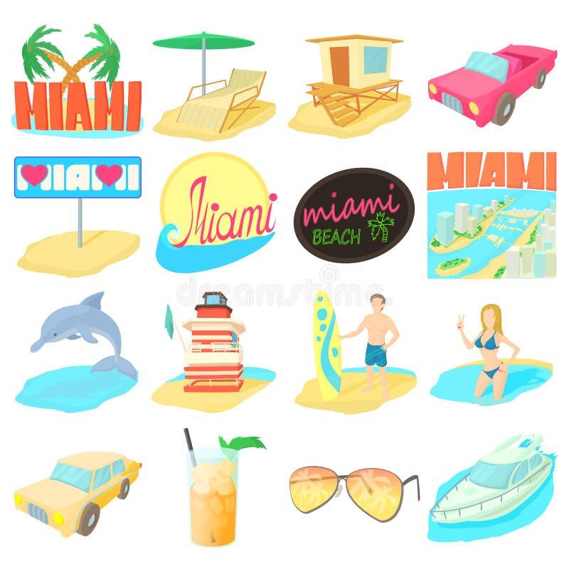 Miami loppsymboler uppsättning, tecknad filmstil royaltyfri illustrationer