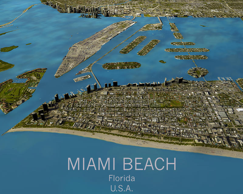 Miami map, satellite view, United States. Miami map, satellite view aerial view, Florida, United States royalty free stock image