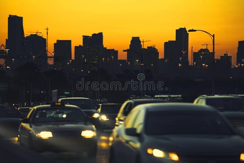 Miami Miastowy ruch drogowy obraz stock