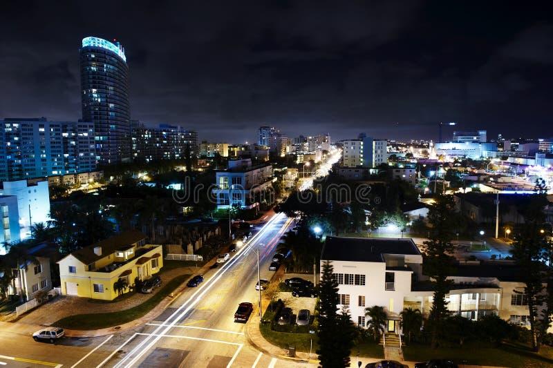 Miami na noite fotos de stock royalty free