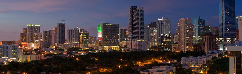 Miami Night Panorama royalty free stock photos