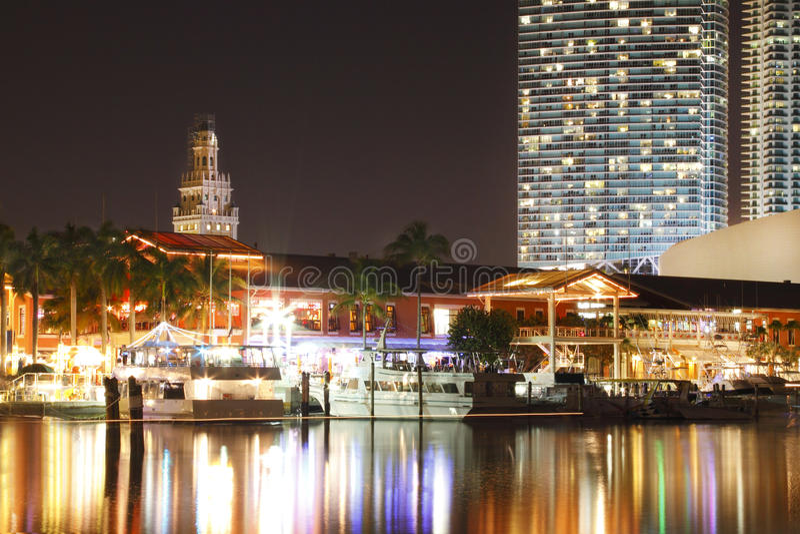 Miami Night Skyline Stock Image