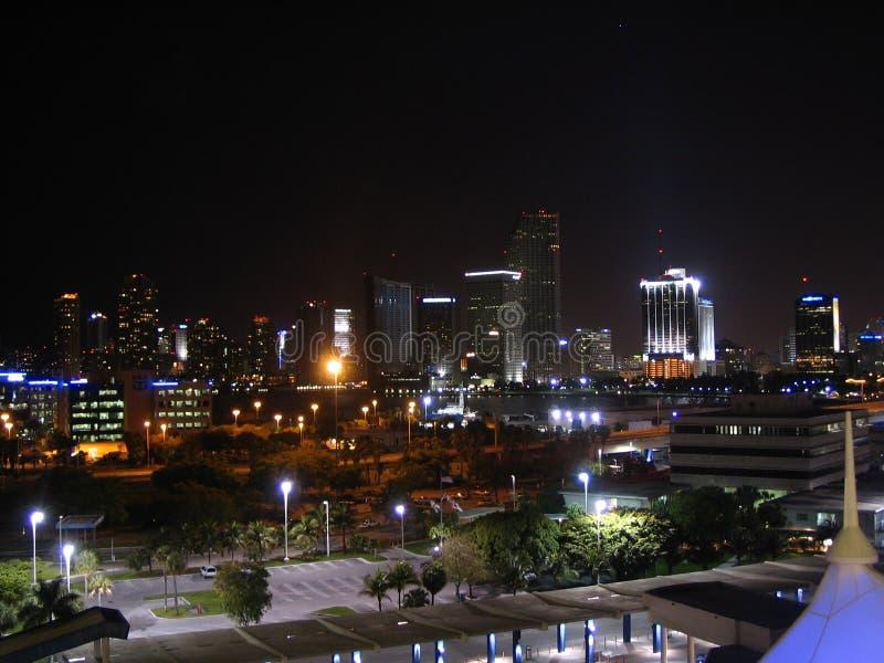 Miami Night Skyline royalty free stock image
