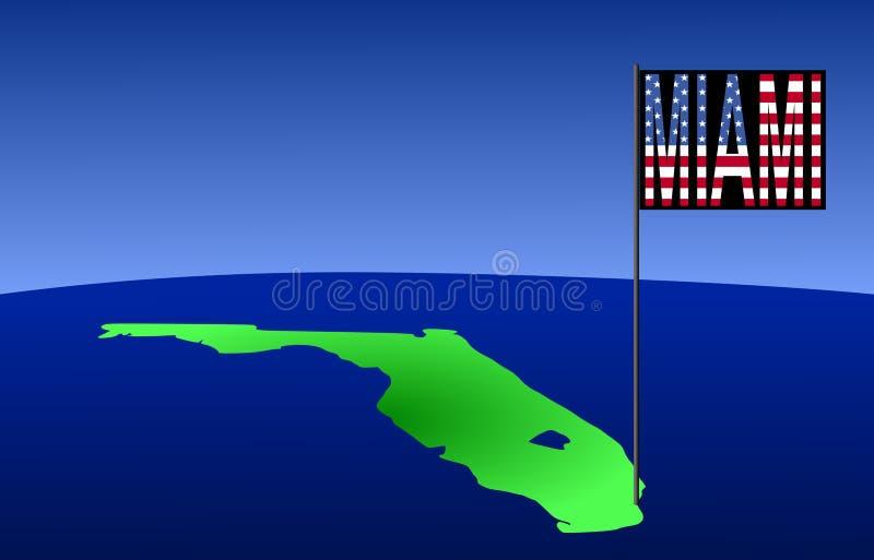 Miami no mapa de Florida ilustração do vetor