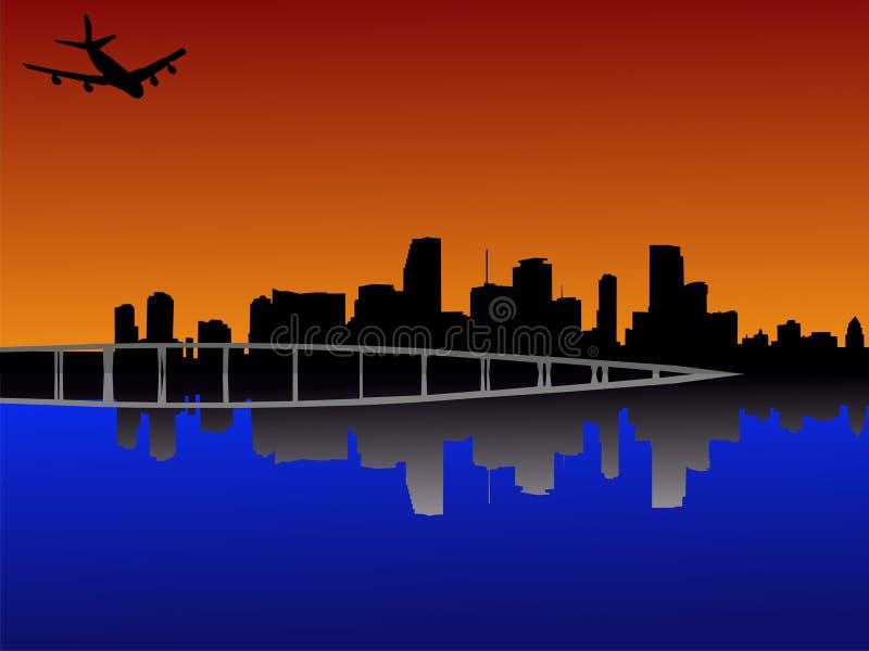 Miami no por do sol com plano ilustração stock