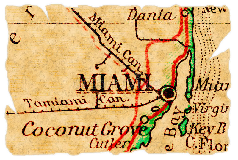 Miami old map. Miami, Florida on an old torn map from 1949, isolated. Part of the old map series royalty free stock photos