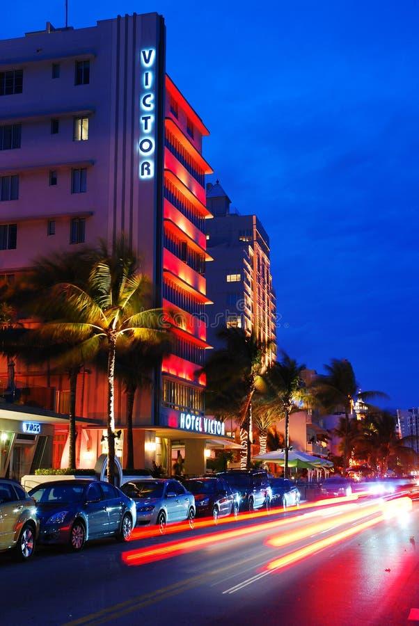 Miami på nätterna arkivfoton