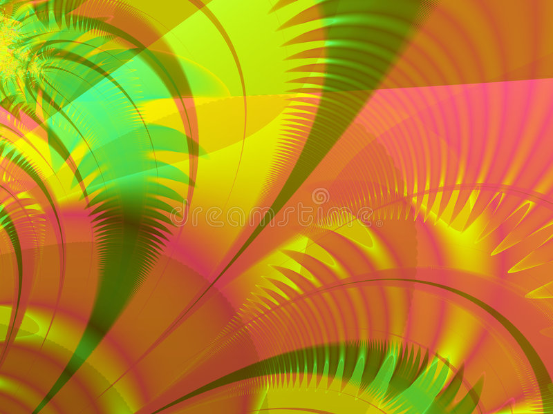 Miami Palms. Fractal rendering of tropical, island, Miami palm leaves vector illustration