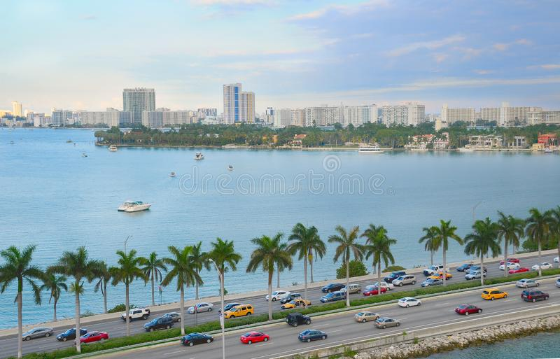 Miami panorama with car traffic royalty free stock image