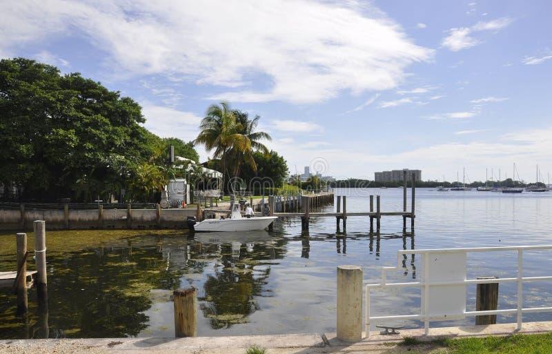 Miami plaża FL, Sierpień 09th: Wenecka wyspa od Miami plaży w Floryda obrazy royalty free