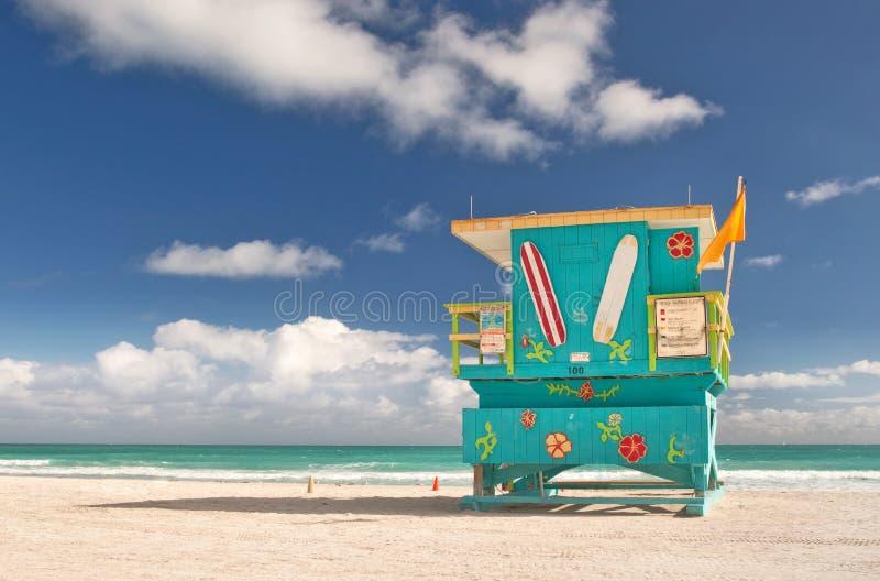 Miami Plażowy Floryda, ratownika dom zdjęcia stock