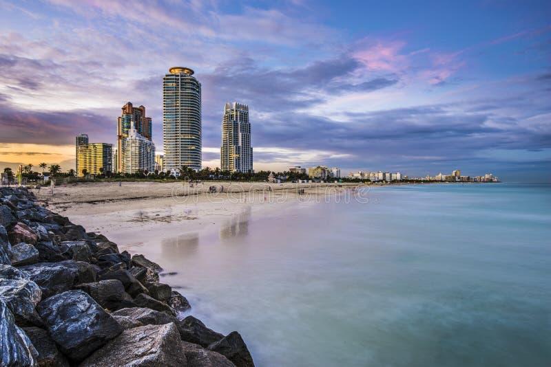 Miami plaży linia horyzontu obrazy stock