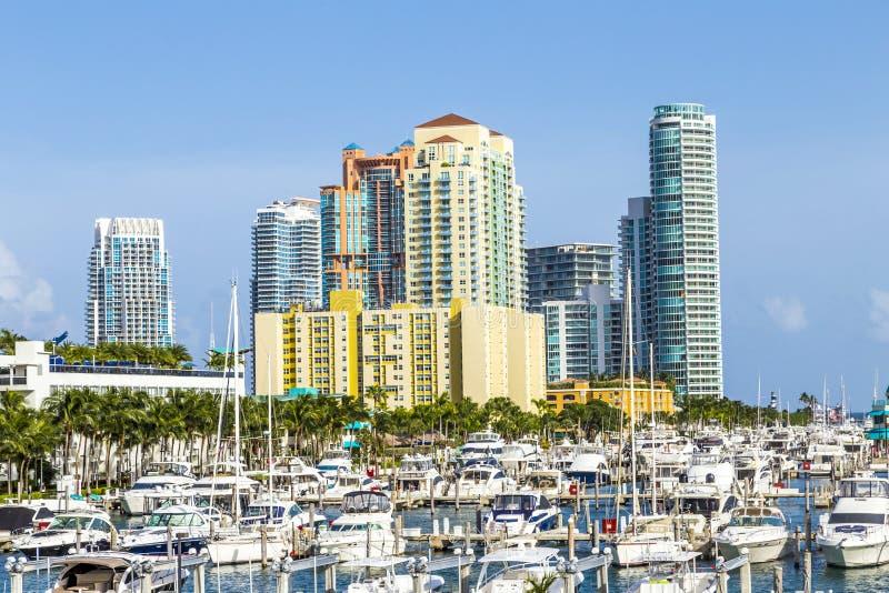 Miami południe plaży marina z linią horyzontu obrazy royalty free