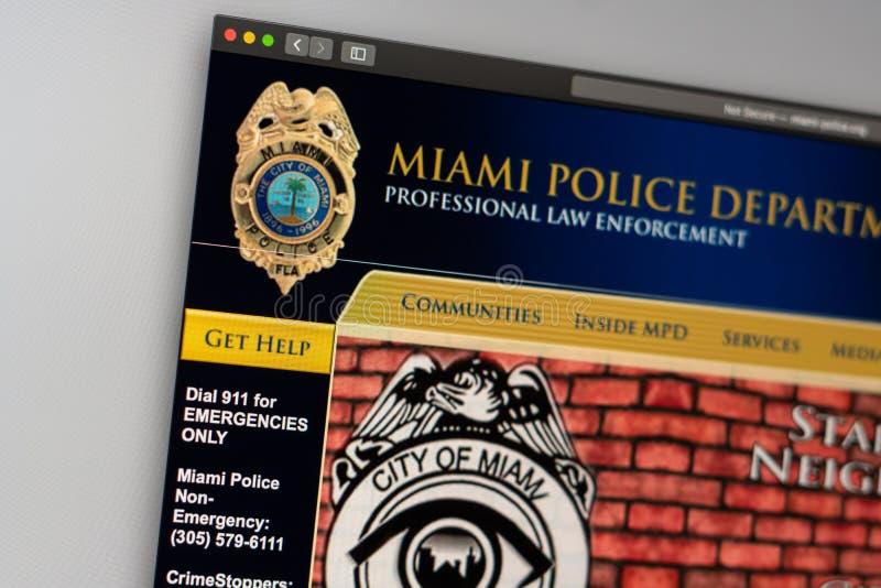 Miami Police Department website homepage. Close up of Police Dept logo. Miami / USA - 05.11.2019: Miami Police Department website homepage. Close up of Police stock photos