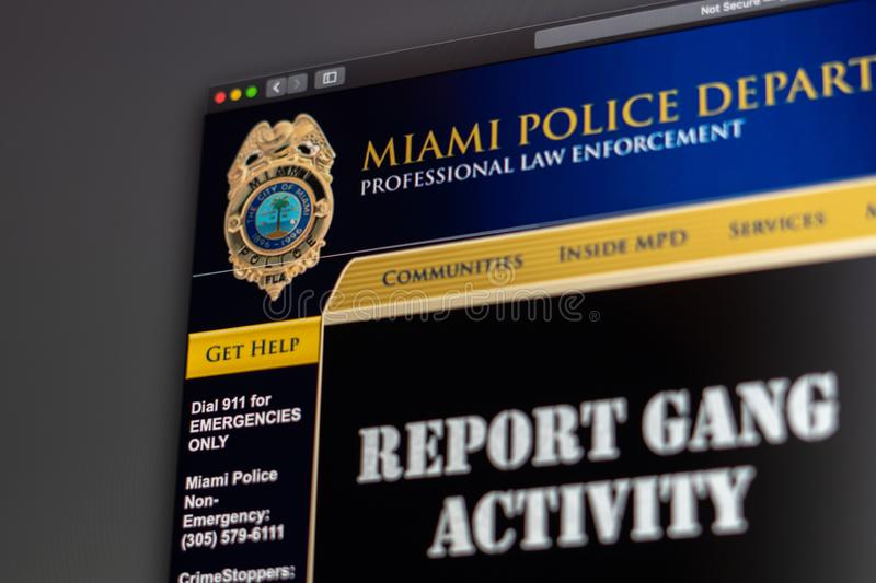 Miami Police Department website homepage. Close up of Police Dept logo. Miami / USA - 05.11.2019: Miami Police Department website homepage. Close up of Police royalty free stock image