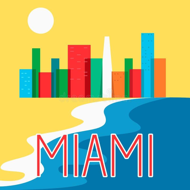 Miami resume el ejemplo colorido plano del vector del rascacielos de la ciudad del horizonte ilustración del vector