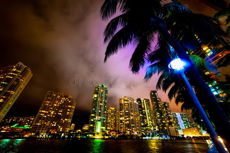 Miami riverwalk at night. Southern Florida, USA, beach, skyscraper, downtown, bayfront, building, city, urban, united, states, park, chopin, plaza, america royalty free stock images