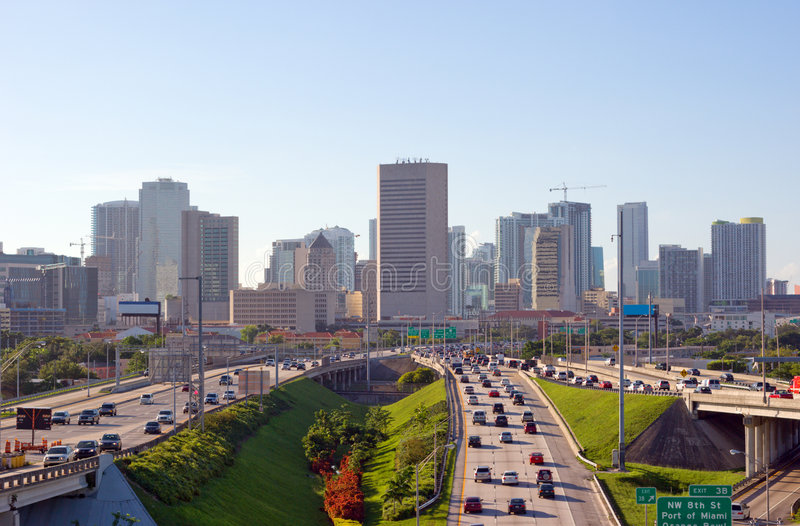 Miami Rush Hour Traffic. Miami Skyline and Highways and Morning Rush Hour Traffic stock images