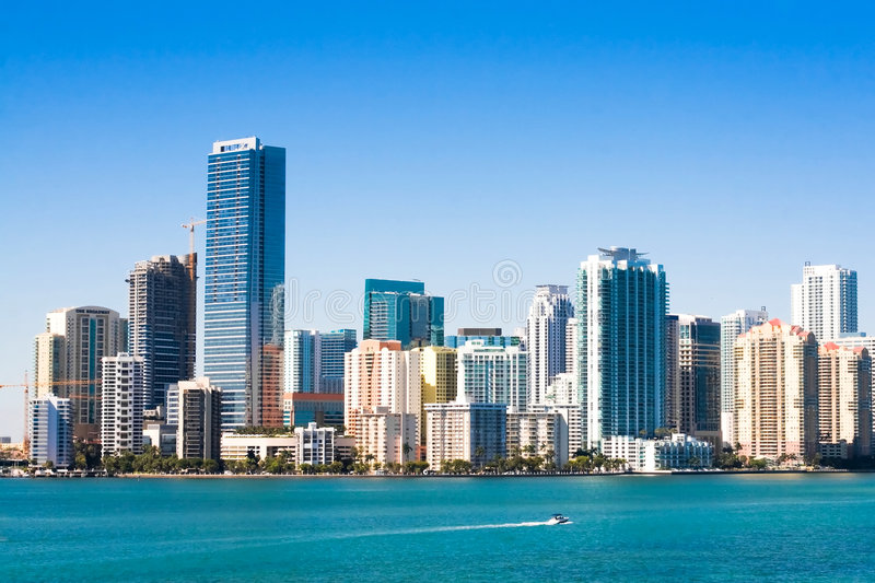 Download Miami Skyline stock image. Image of morning, building - 7449247