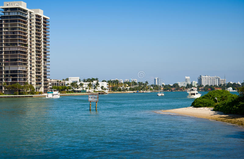 Miami Skyline with Biscayne Bay royalty free stock image