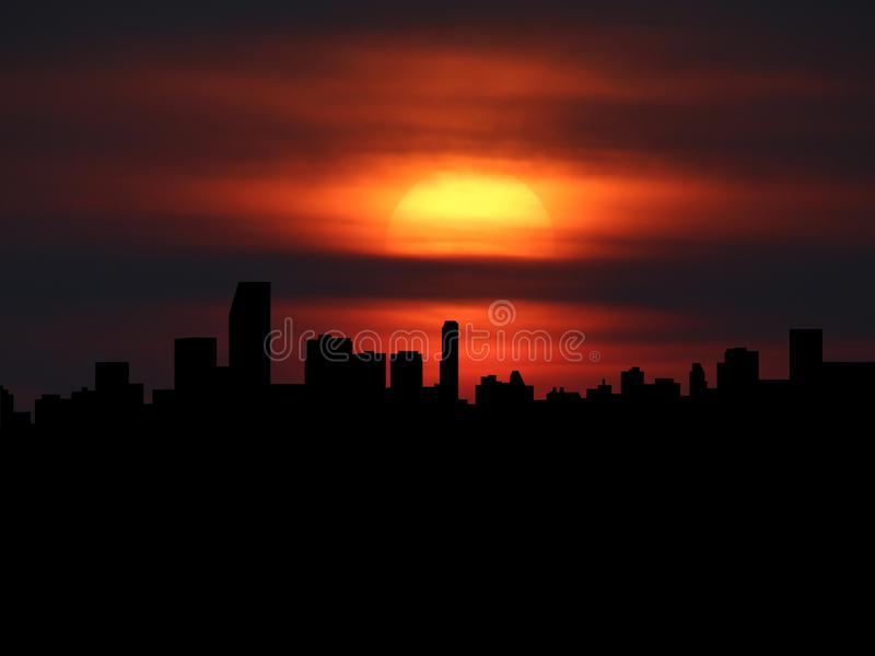 Download Miami Skyline Silhouette With Sunset Illustration Stock