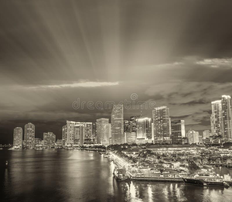 Miami skyline in black and white, Florida - USA royalty free stock photo