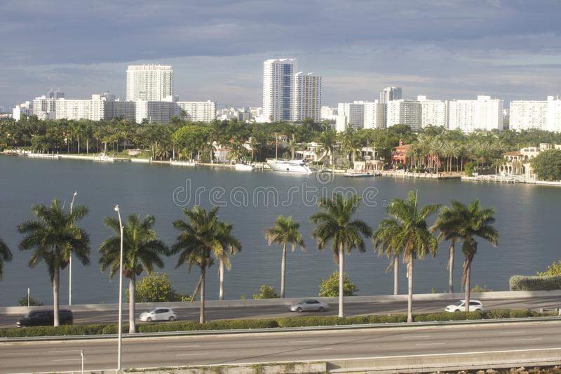 Miami Skyline Day Time 2. Shot of Miami Beach from cruise ship royalty free stock image