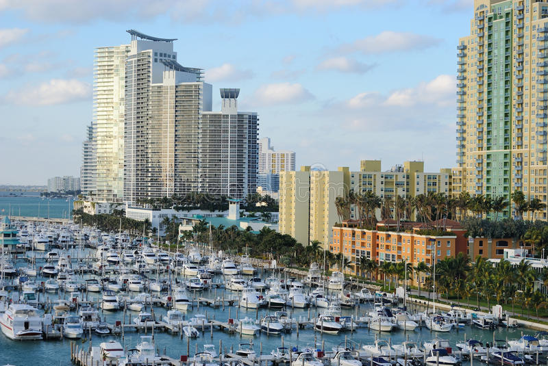 Download Miami Skyline and Dock stock photo. Image of apartment - 17657184