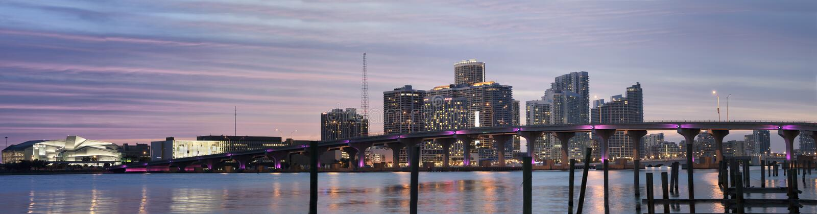 Miami Skyline At Dusk stock images
